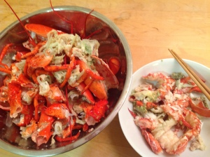 Removing the meat from your lobster. Even better, ask someone else (like a long-suffering spouse) to help you!
