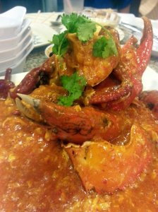 Chili crab looks like a Japanese horror movie but tastes delicious!
